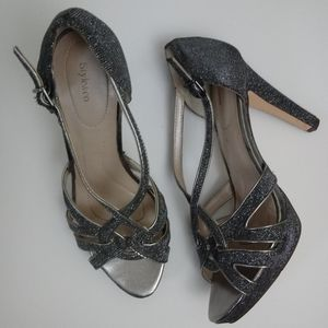 Style & Co Silver Grey Shimmer Strappy Heels sz 9